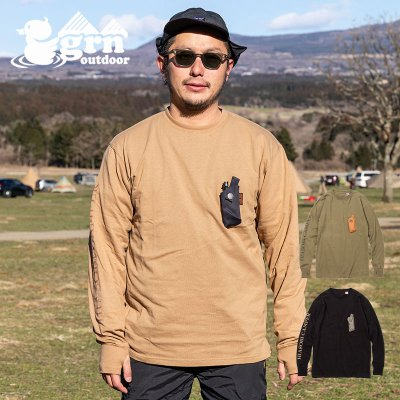grn ジーアールエヌ HIASOBI CAMPER L/S TEE メンズ ポケット付き長袖Tシャツ GO0105F【たき火 焚き火 焚火 燃えにくい キャンプ用品 outdoor アウトドア】
