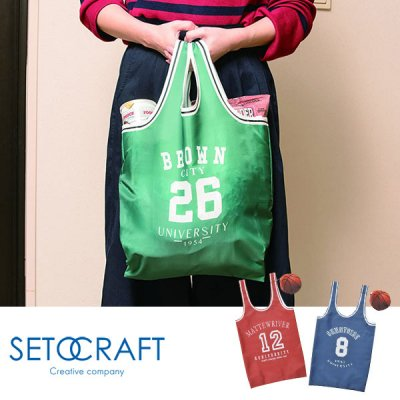 SETOCRAFT セトクラフト バッグ(バスケット) ボール型ポーチ付 SF-3953【男女兼用 エコバッグ ショッピングバッグ レジ袋 折りたたみ コンパクト 収納ケース】