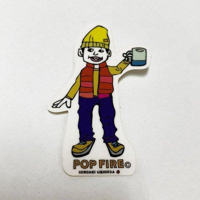 POPFIRE ポップファイヤー アウトドアステッカー ウシオダ ヒロアキ PS0003【シール かわいい 可愛い おしゃれ かっこいい ブランド アウトドア】