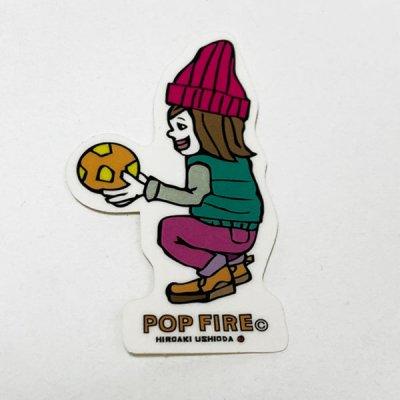 POPFIRE ポップファイヤー アウトドアステッカー ウシオダ ヒロアキ PS0004【シール かわいい 可愛い おしゃれ かっこいい ブランド アウトドア】