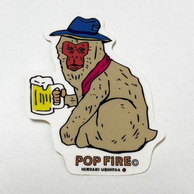 POPFIRE ポップファイヤー アウトドアステッカー ウシオダ ヒロアキ PS0008【シール かわいい 可愛い おしゃれ かっこいい ブランド アウトドア】