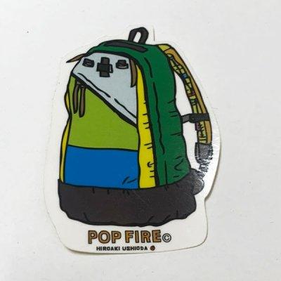 POPFIRE ポップファイヤー アウトドアステッカー ウシオダ ヒロアキ PS0036【シール かわいい 可愛い おしゃれ かっこいい ブランド アウトドア】
