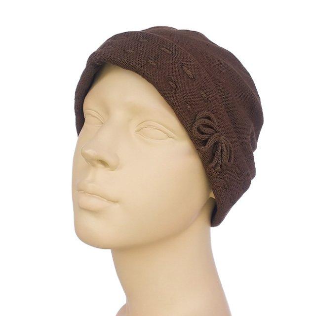 抗がん剤保護帽子:ステッチコットンシャロット