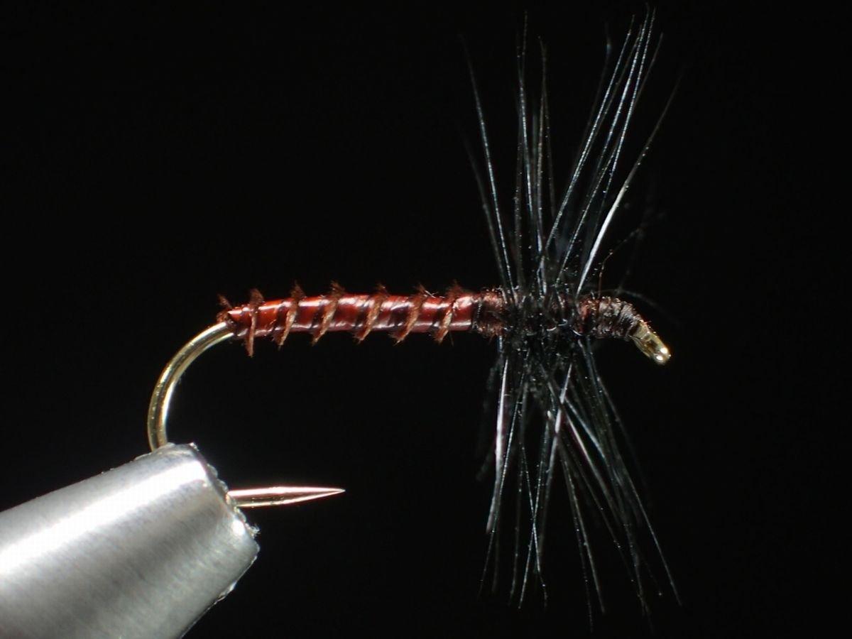 完成フライ・毛鉤 テンカラ毛鉤-n-VISION テンカラ・クイル胴毛ばり マホガニーブラウン #12 2色4本セット