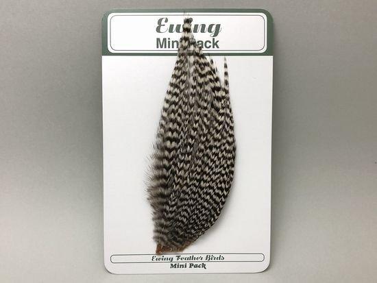 タイイング(毛鉤製作) マテリアル-Ewing コックハックル ドライフライ・ミニパック #12-14 ナチュラルグリズリー