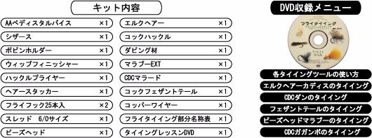 タイイング(毛鉤製作) タイイングセット-アキスコ エイシスタイイングキット ぺディスタル・5パターン DVD付き 全19点セット!