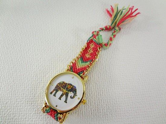 象柄入りミサンガ腕時計【1】