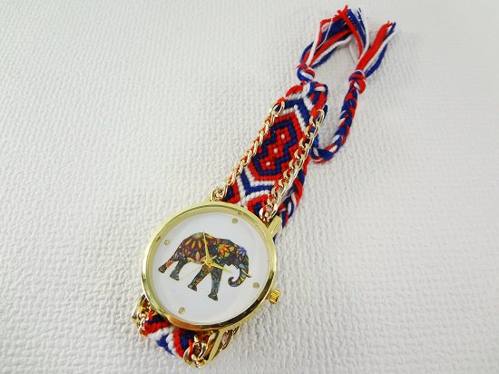 象柄入りミサンガ腕時計【3】
