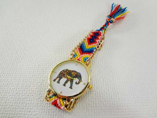 象柄入りミサンガ腕時計【5】