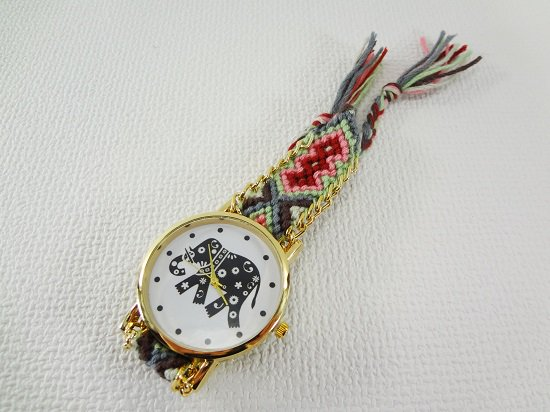 象柄入りミサンガ腕時計【6】