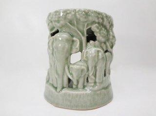 セラドン焼き・象のアロマポット【1】