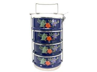 花柄ホーロー弁当箱4段・ブルー