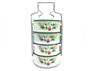 花柄ホーロー弁当箱4段・ホワイト
