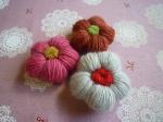 毛糸のお花パーツ(3個セット)【3】