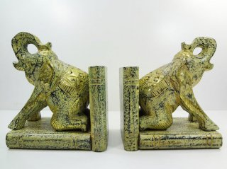 象のブックエンド(左右ペアーセット)【3】