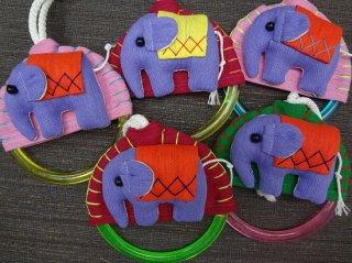 象のモチーフ付タオル掛け/紫の象さんシリーズ【3】