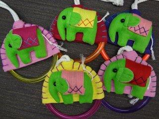 象のモチーフ付タオル掛け/緑の象さんシリーズ【4】