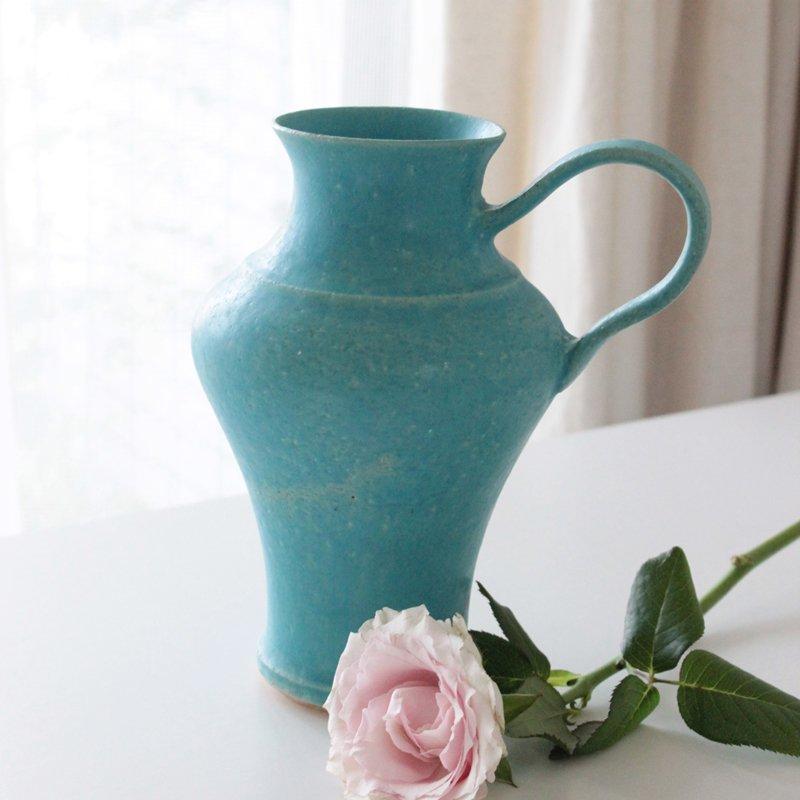 鈴木麻起子 フラワーベース (花瓶) ターコイズ