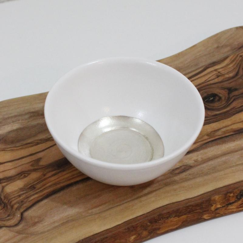 稲葉周子 白磁銀彩 小鉢