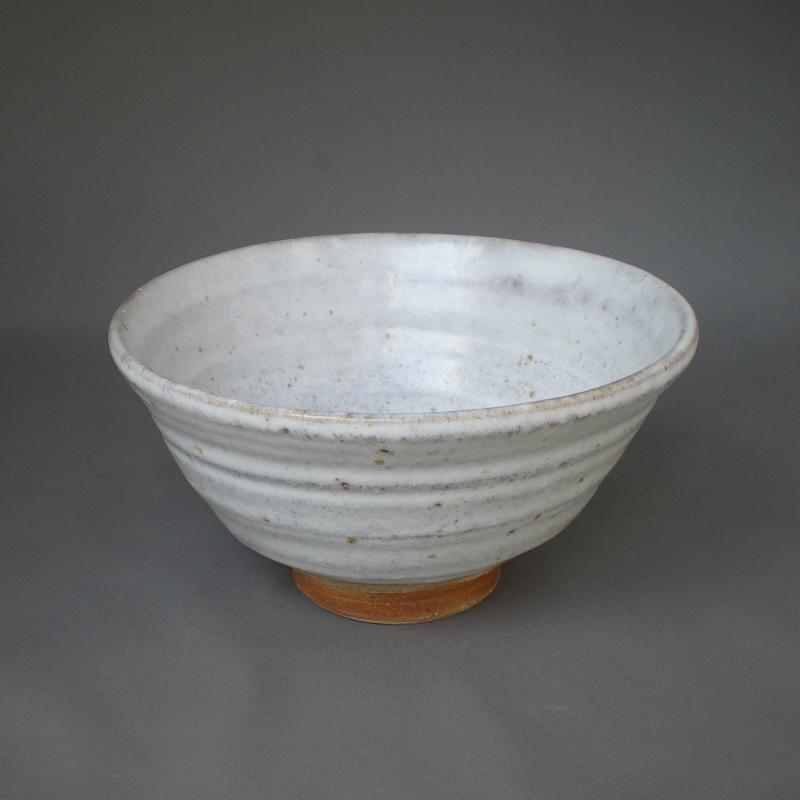 藤原裕二 卯の斑釉 大鉢