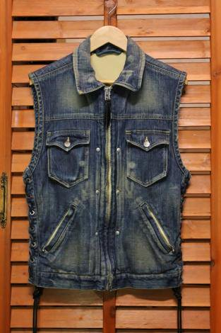 SKULL FLIGHT スカルフライト DENIM CLUB ZIP VEST ( FULL COLLAR ) AGING DENIM