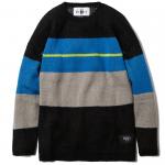 Knit Crew Neck(Black-Blue)