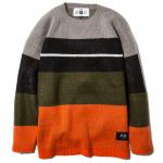 Knit Crew Neck(Gray-Orange)
