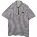 Stripe Half Zip S/S Shirts(White/Black)