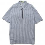 Stripe Half Zip S/S Shirts(White/Blue)