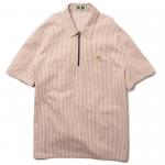 Stripe Half Zip S/S Shirts(White/Brown)