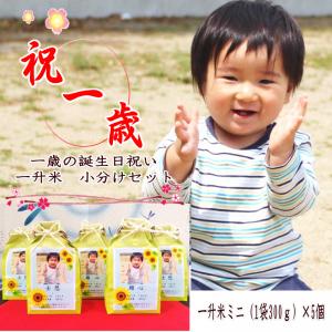 1歳 御祝 小分け 送料無料 一升米ミ ニ(300g)×5袋セット