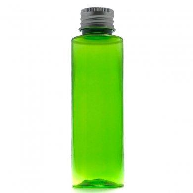 プラスチック容器 100mL グリーン ストレートボトル【アルミキャップ】※穴開き中栓付き