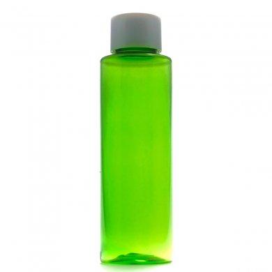 プラスチック容器 100mL グリーン ストレートボトル【スクリューキャップ:ホワイト】