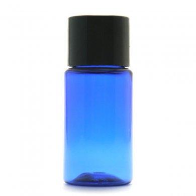 プラスチック容器 10ml PET [ ボトル:コバルト / スクリューキャップ:ブラック / 穴あき中栓 ]
