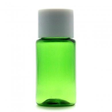 プラスチック容器 10mL PET グリーン【スクリューキャップ:ホワイト】* 穴あき中栓付き
