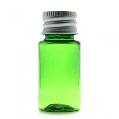 プラスチック容器 10mL PET グリーン【アルミキャップ】* 穴あき中栓付き