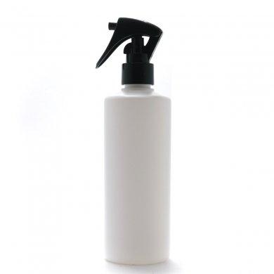 ミニトリガースプレー 300ml PE ストレートボトル [ ボトル:ホワイト / トリガー:ブラック (スライドロック黒) ]
