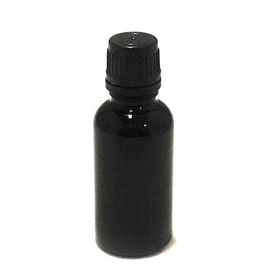 アロマ遮光瓶 30ml 遮光黒 [ セキュリティーキャップ黒 / ドロッパー中栓 ]