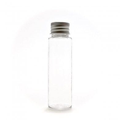 プラスチック容器 30ml PET ストレートボトル [ ボトル:透明 / アルミキャップ / 穴あき中栓 ]