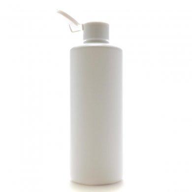 プラスチック容器 300mL PE ホワイト ストレートボトル【ヒンジキャプ:ホワイト】※パッキン付き【48個/ロット 送料無料】