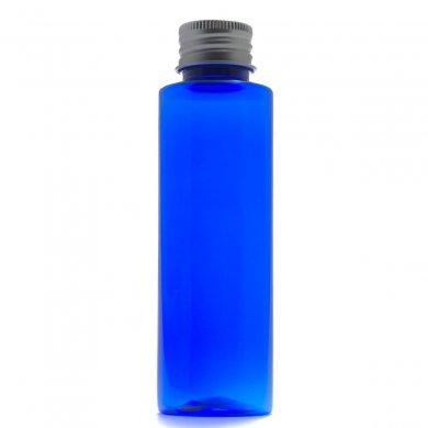 プラスチック容器 100mL コバルト ストレートボトル【アルミキャップ】