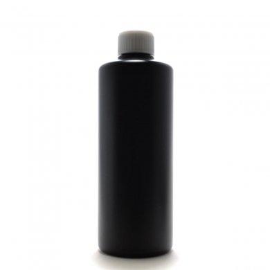 プラスチック容器 300ml PE ストレートボトル [ ボトル:遮光黒 / スクリューキャップ:ホワイト / 中栓 ]
