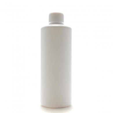 プラスチック容器 300ml PE ストレートボトル [ ボトル:ホワイト / スクリューキャップ:ホワイト / 中栓 ]