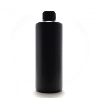 プラスチック容器 300ml PE ストレートボトル [ ボトル:遮光黒 / スクリューキャップ:ブラック / 中栓 ]