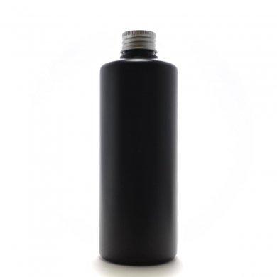 プラスチック容器 300ml PE ストレートボトル [ ボトル:遮光黒 / アルミキャップ ]