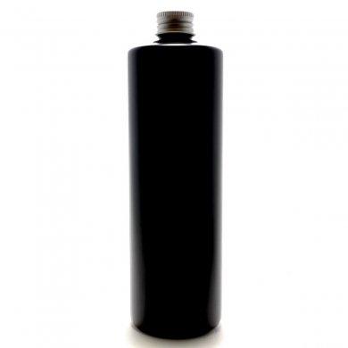 プラスチック容器 500mL PE 遮光黒 ストレートボトル【アルミキャップ】
