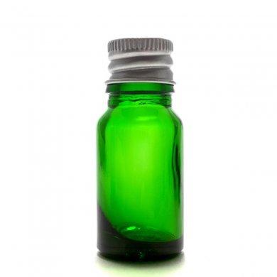 アロマ遮光瓶 10mL グリーン【アルミキャップ 穴あき中栓付き】