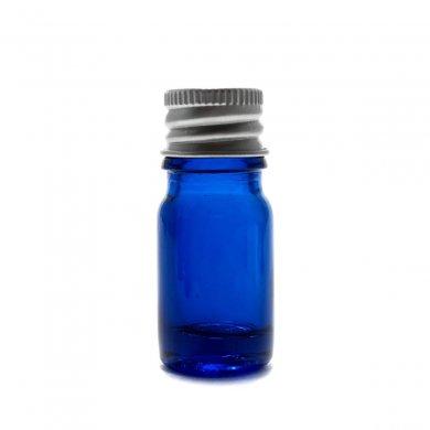 アロマ遮光瓶 5mL コバルト【アルミキャップ】*穴あき中栓付き