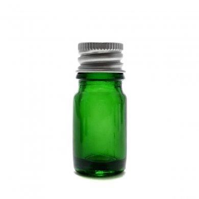 アロマ遮光瓶 5mL グリーン【アルミキャップ】*穴あき中栓付き