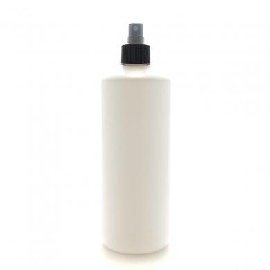 スプレーボトル 500mL PE ホワイト ストレートボトル [ ブラックフィンガースプレー ]